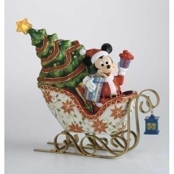 """9"""" Cloisonne Mickey In Lighted Sleigh Porcelain Christmas Decoration"""