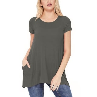 Link to Women's Solid A-Line Short Sleeve Tunic Tee Top Similar Items in Tops