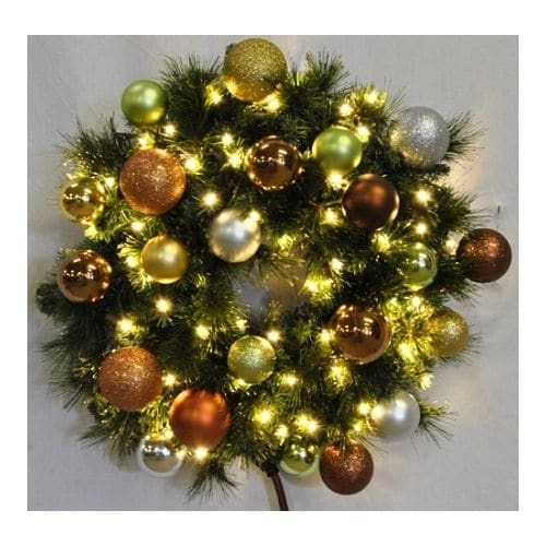 Christmas at Winterland WL-GWSQ-02-WOOD-LWW 2 Foot Pre-Lit Warm White Sequoia Wreath Decorated with Woodland Ornaments Indoor /