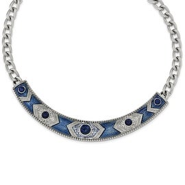 Silvertone Blue Crystal & Glass Enamel Fancy Necklace - 16in