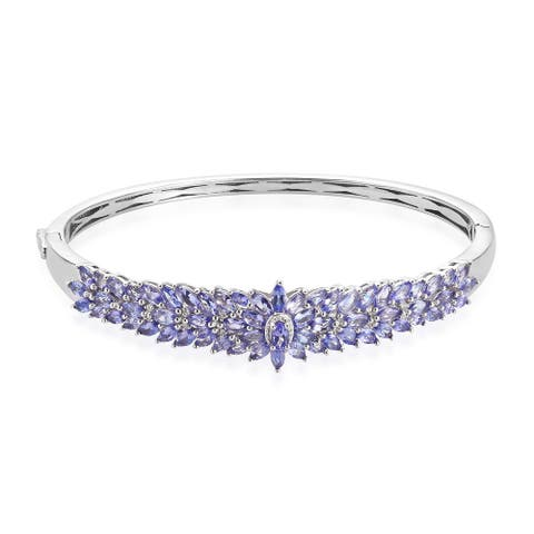 925 Silver Blue Tanzanite Bangle Cuff Bracelet Size 8 In Ct 7.9 - Bracelet 8''