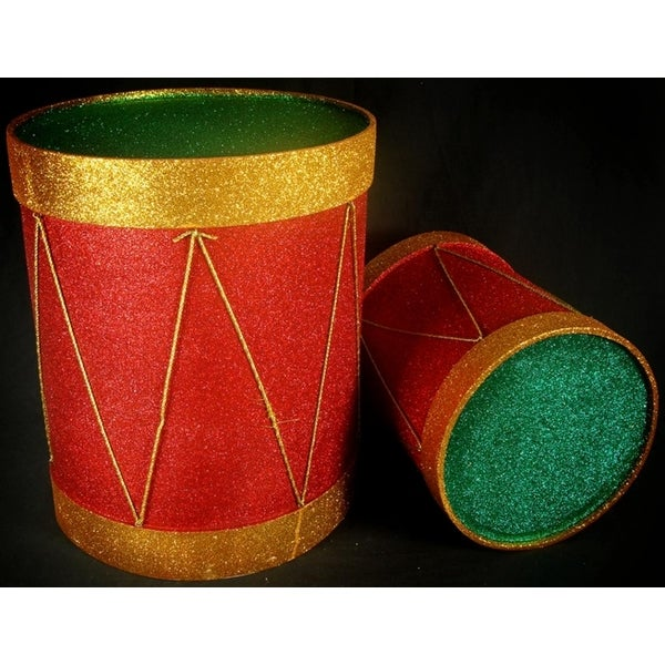 Set of 2 Sparkling Red Gold and Green Glitter Christmas Drum Table Top Decor
