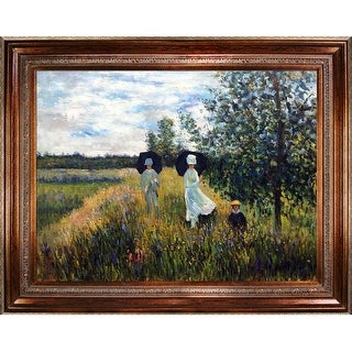 Claude Monet 'The Promenade Near Argenteuil' Hand Painted Oil Reproduction