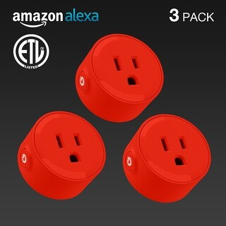 3 PACK LITEdge Smart Plug, Works with Alexa, Wi-Fi Accessible, Single Socket,Red
