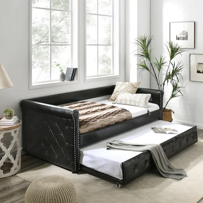 Nestfair Black PU Twin Size Daybed with Trundle