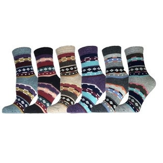 Women's 6 Pairs Socks Size 6-9 Wool Blend Warm Winter Crew Women Socks