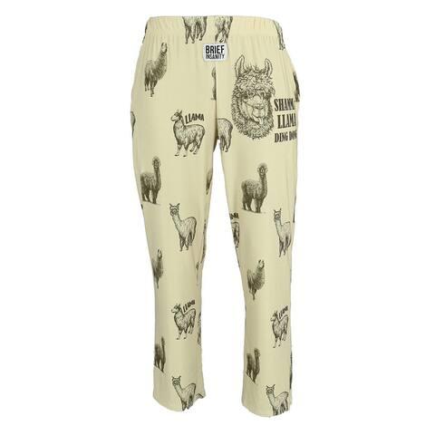 Brief Insanity Men's Llama Print Lounge Pants - Natural