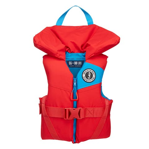 Mustang lil' legends youth foam pfd imperial red