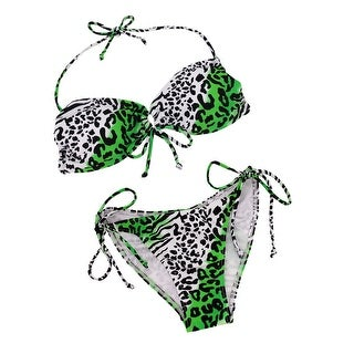 Green, Black and White Animal Print String Bikini