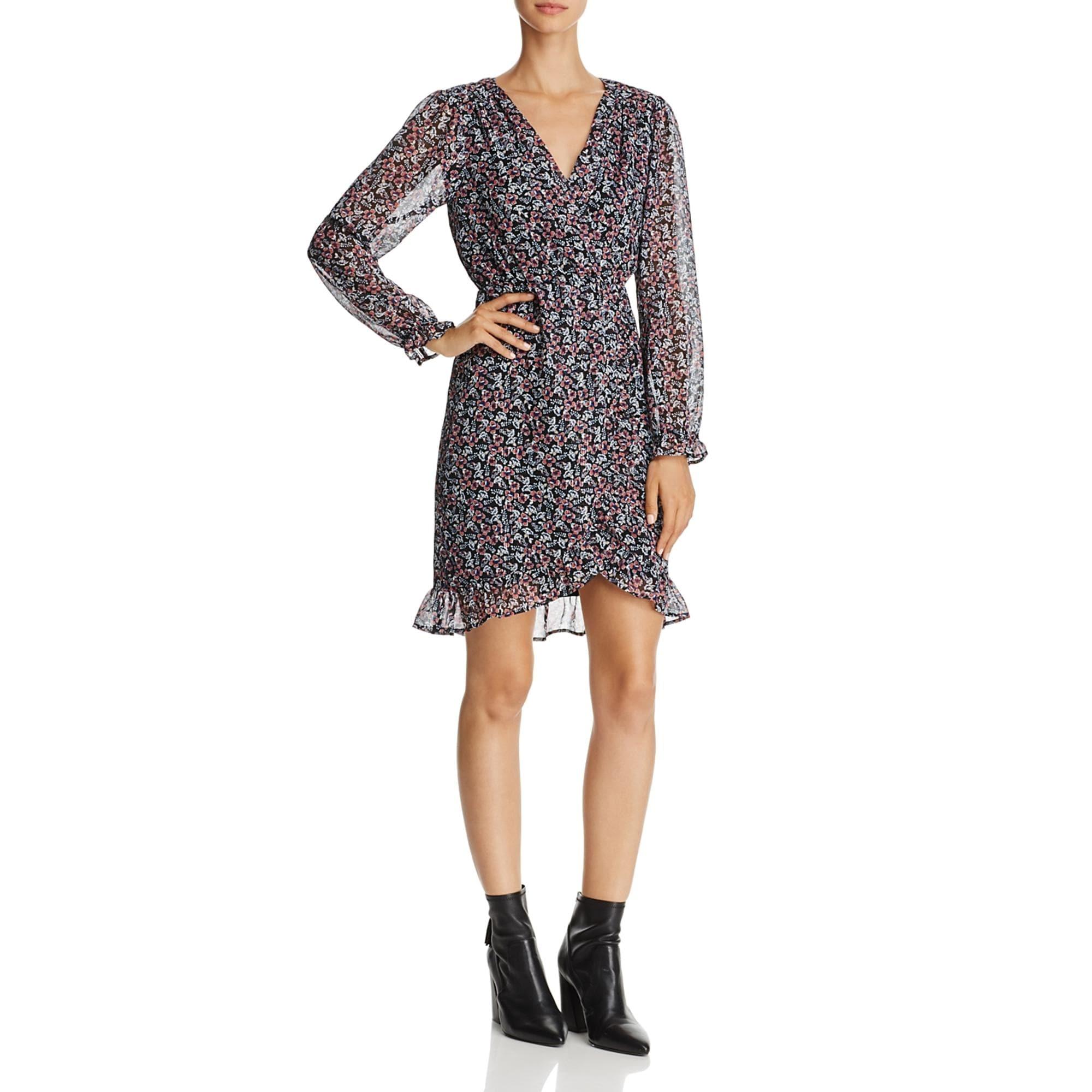Beltaine Women/'s Chiffon Floral Print Flounced Surplice Day Dress