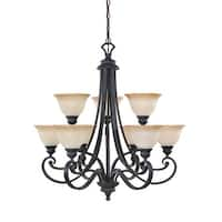 Designers Fountain 96189 9-Light Up Lighting Two Tier Chandelier from the Barcelona Collection - natural iron