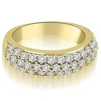 1.30 cttw. 14K Yellow Gold Three Row Round Cut Diamond Wedding Ring
