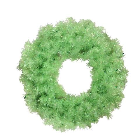 "24"" Pre-Lit Chartreuse Green Wide Cut Artificial Christmas Wreath - Green Lights"