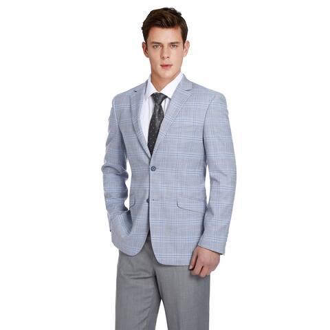 Men's 2 Piece Slim Fit Performance Windowpane Check Stretch Suit