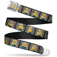 Minion Dave Face Close Up Full Color Minions Posing Blocks Gray Webbing Seatbelt Belt