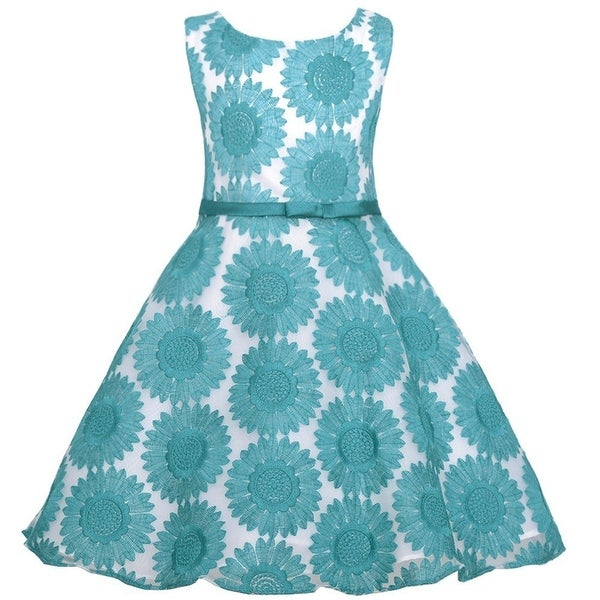 Sweet Kids Teal Embroidered Lace Easter Dress Todder Girl 2T-3T