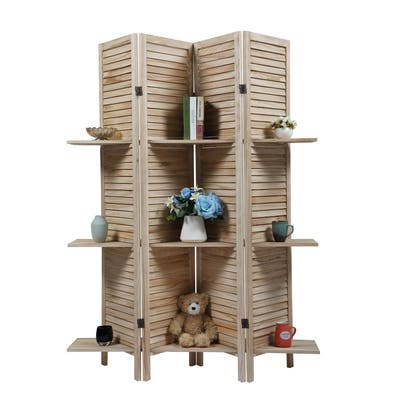 4-piece Wooden Louver Screen with Storage Board-Light Burnt Color