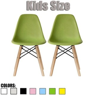 2xhome-set of 2 Green Plastic Wood Chairs Natural Wood Kids Children.