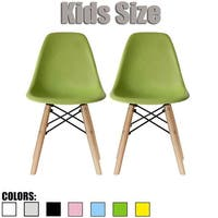 2xhome Set of Two (2) Modern Kids Chair Side No arm Armless Colors with Natural Wood Legs