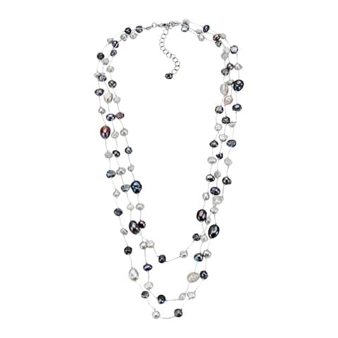 Handmade Simply Elegant Layered Cascade of Freshwater Pearls Statement Necklace (Thailand)