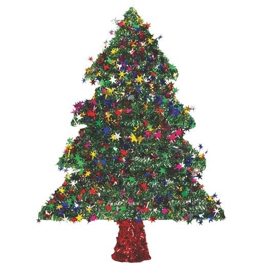 "F C Young 18"" 2D Grn Tinsel Tree 18W-TREE Unit: EACH Contains 6 per case"