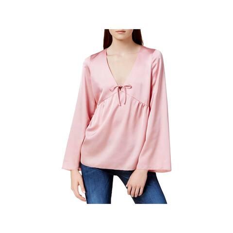 Kensie Womens Pullover Top Satin V-Neck