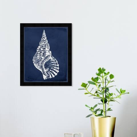 Oliver Gal 'Navega Shell Navy' Nautical and Coastal Wall Art Framed Print Marine Life - Blue, White