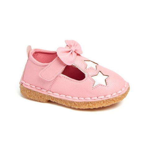 Little Girls Pink Bow White Star Detail T-Strap Casual Shoes 5-10 Toddler