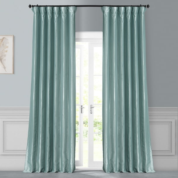 Exclusive Fabrics Solid Faux Silk Taffeta Robin's Egg Curtain Panel. Opens flyout.