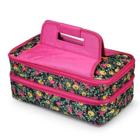 Zodaca Double Casserole Insulated Carrier Travel Tote Carry Bag for Camping Beach Park - Multifloral
