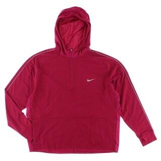 Nike Mens Dri FIT Sprint Half Zip Hoodie Fireberry
