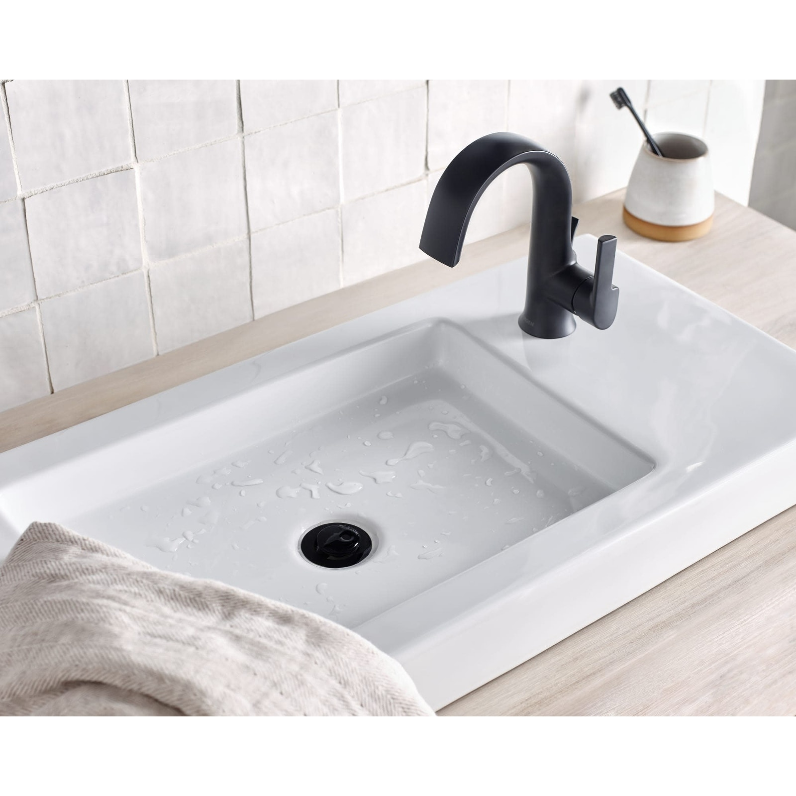 Moen S6910 Doux 1 2 Gpm Single Hole Bathroom Faucet With Pop Up Drain On Sale Overstock 25655801