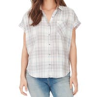 William Rast Pink Womens Size Small S Plaid Button Down Shirt