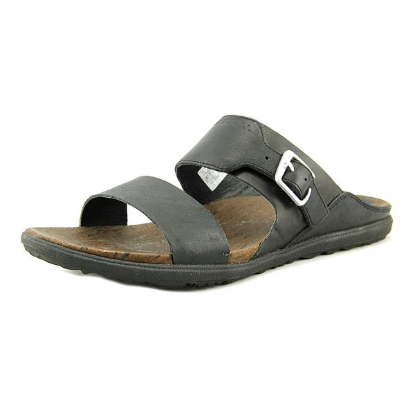 Merrell Around Town Buckle Women Open Toe Leather Black Slides Sandal