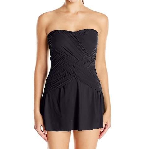Gottex Black Womens Size 8 Strapless Cross Front Swimdress Swimwear