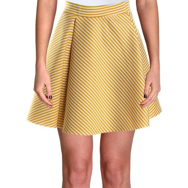 Aqua Womens Flare Skirt Striped Asymmetric - Yellow/White