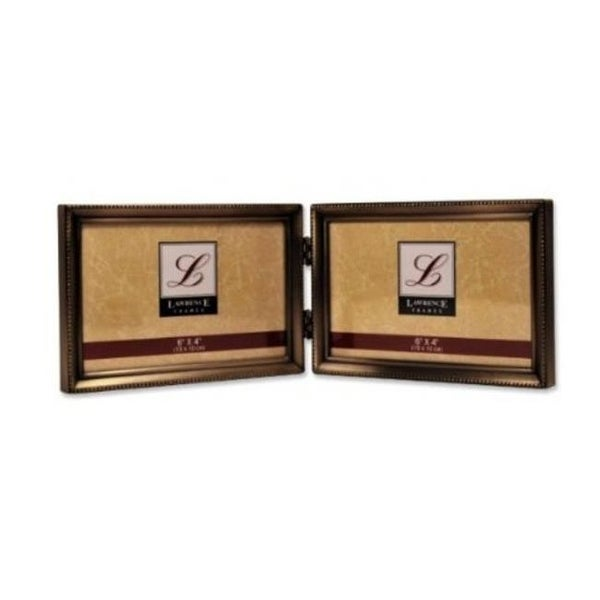 Shop Antique Brass 4x6 Hinged Double Horizontal Picture Frame Bead