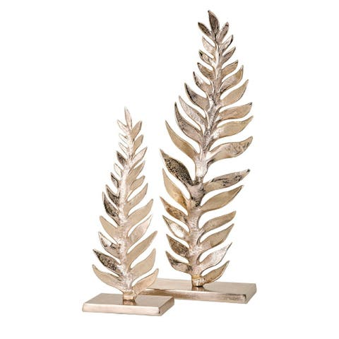 """27"""" Large Glossy Silver Colored Leaf Tabletop Sculpture"""