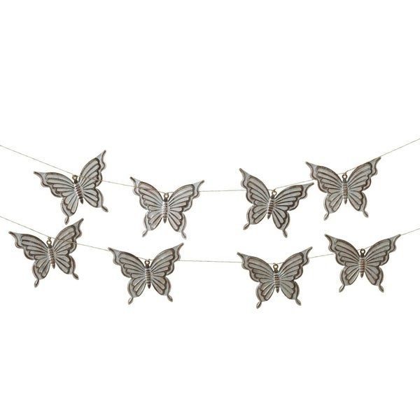 """Set of 4 Silver Stamped Butterfly Metallic Finished Decorative Garlands 72"""""""