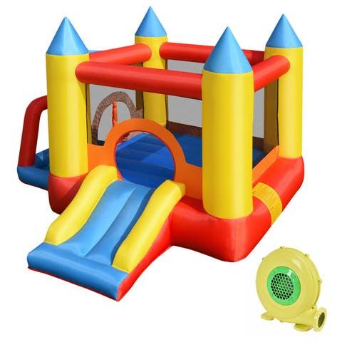 Costway Inflatable Mighty Bounce House Jumper Castle Moonwalk Slide w/480W Blower