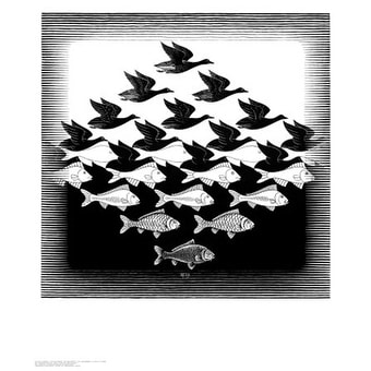 ''Sky and Water'' by M.C. Escher Fantasy Art Print (25.625 x 21.75 in.)