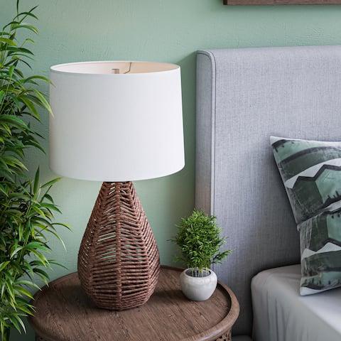 """Bayne Natural Rattan Table Lamp - 14"""" x 25"""""""