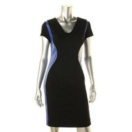 Diane Von Furstenberg Womens Dayton Leather Short Sleeves Wear to Work Dress - 2