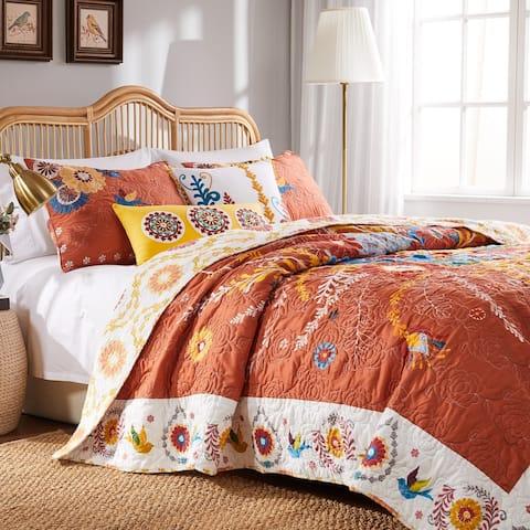 Barefoot Bungalow Topanga Orange Bohemian Floral Quilt Set