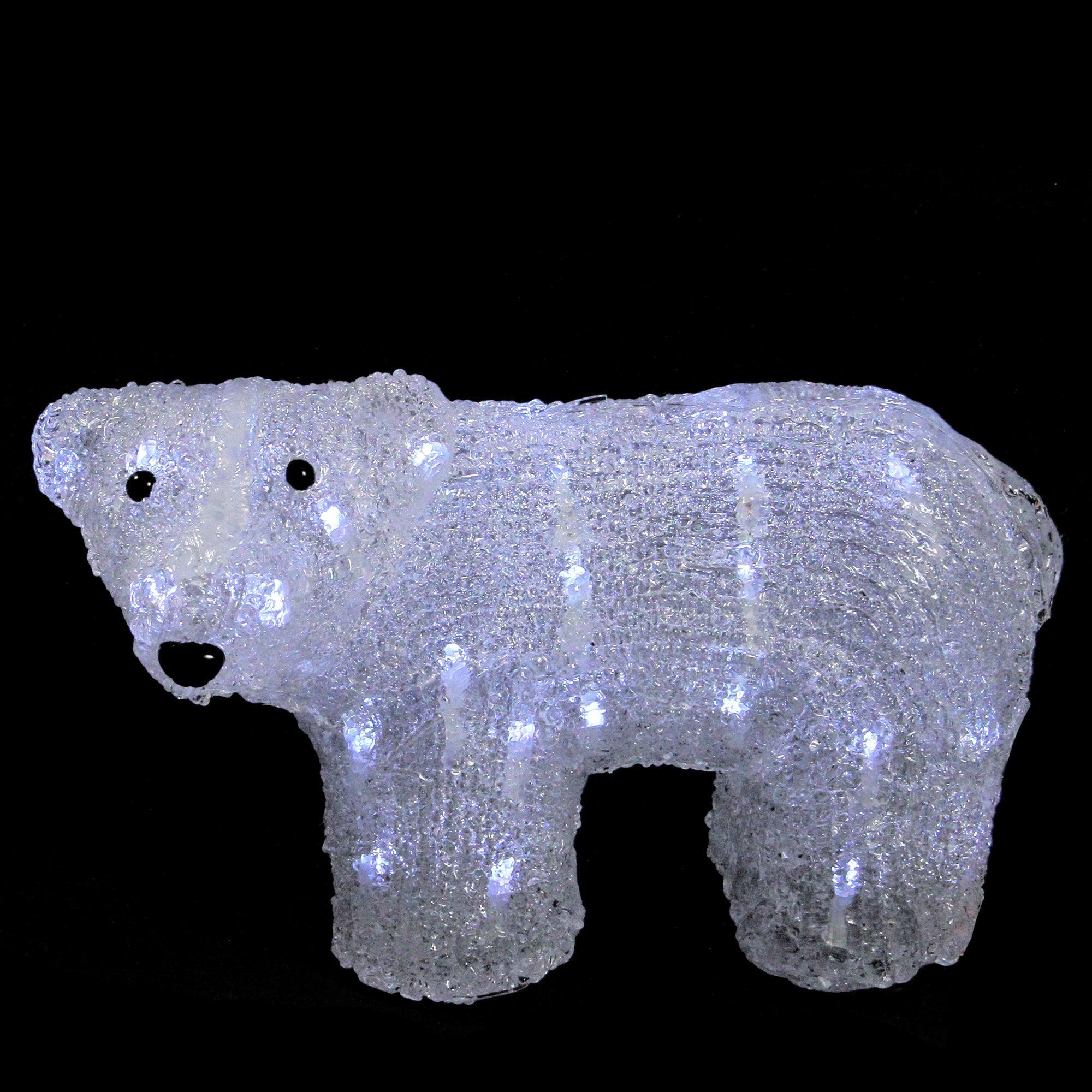 "13 5"" White Lighted mercial Grade Acrylic Baby Polar Bear Christmas Decoration"