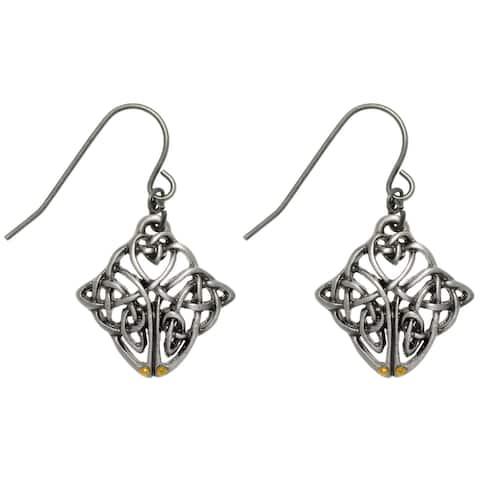 Pewter Celtic Knot Endurance Medallion Dangle Earrings