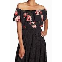 Catherine Malandrino Black Womens Size Medium M Floral Print Blouse