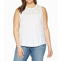 Lucky Brand White Women's Size 1X Plus Embroidered Lace Knit Top