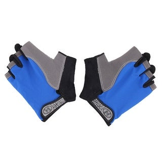 Skating Cycling Sport Breathable Half Finger Gloves Light Blue L Size Pair