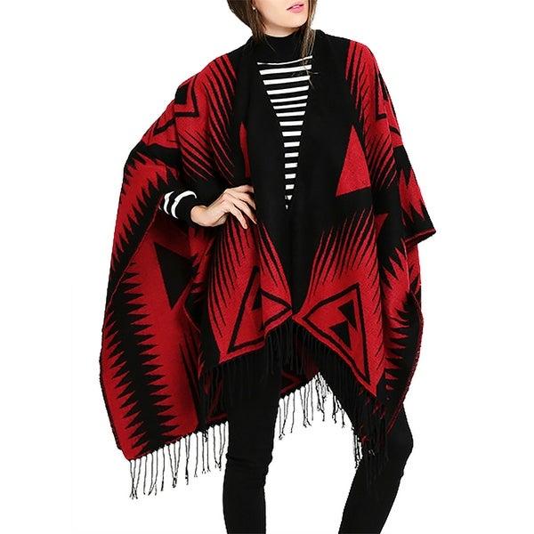 e20d6ff6a6adc QZUnique Womens Tassel Open Front Poncho Shawl Wrap Cape Cardigan Coat